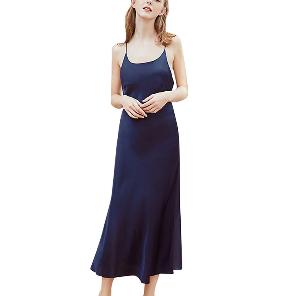 Jeramery Womens Sexy Linegrie for Sex Satin Halter Long Sling Underwear Teddy Chemise Sleepwear Nightgown Navy