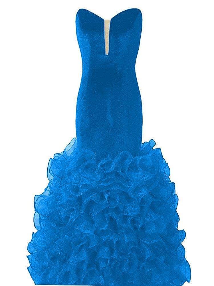 bluee Topashe Women's Strapless V Neck Mermaid Ruffles Velvet Organza Evening Dress Burgundy