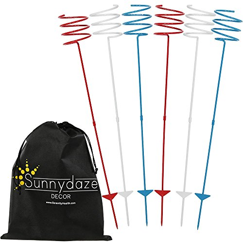 Sunnydaze Outdoor Yard Drink Holder Stakes, Heavy Duty, Set of 6, Patriotic Red, White, and Blue ()