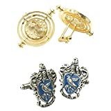 Outlander Gear Harry Potter 2 Pairs Time Turner & Ravenclaw Crest Superhero 2018 Movie Mens Boys Cufflinks