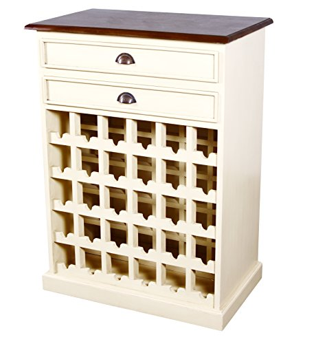 NES Furniture Carmen Wine Cabinet, Ivory/Top Rustic