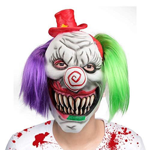 2Pcs/Set Extremely Scary Halloween Mask Horro Screaming Halloween Prank Porps Clown Mask For Party ()