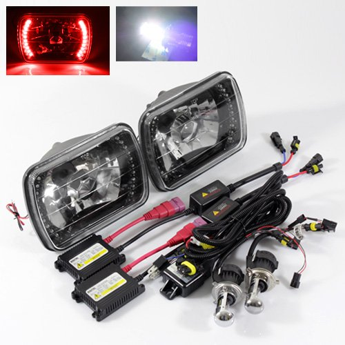 ModifyStreet 6000K Pure White H4-3 Hi/Low Slim HID/7x6 H6014/H6052/H6054 Black Crystal Headlights with Red LED Ring