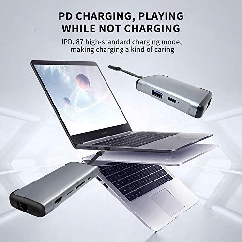 5 in 1 USB C HUB Adapter,USB Type C HUB Adapter Gigabit Ethernet with 3 USB Port, 87W PD Fast Charging for MacBook/Pro/Air 2016/2017/2018/2019 and More USB C Devices