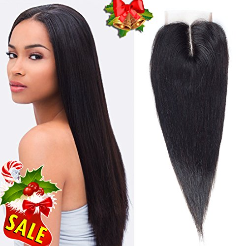 Price comparison product image Callia Lace Closure Straight Middle Part Closure Brazilian Human Hair Closure 100% Unprocessed Bleached Knots 4x4inch (8inch)