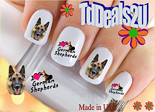 Dog Breed - German Shepherd I Love Nail Decals - WaterSlide Nail Art Decals - Highest Quality! Made in USA