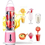 Aobiny Portable Blender, USB Rechargeable Personal Blender, for Single Served Small Blender for Shakes Stronger,Fruit, Smoothie, Baby Food Mixing Machine Blender Bottle Juice Cup (Pink)