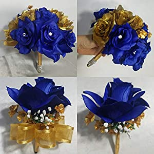 Royal Blue Gold Rose Hydrangea Bridal Wedding Bouquet & Boutonniere 95
