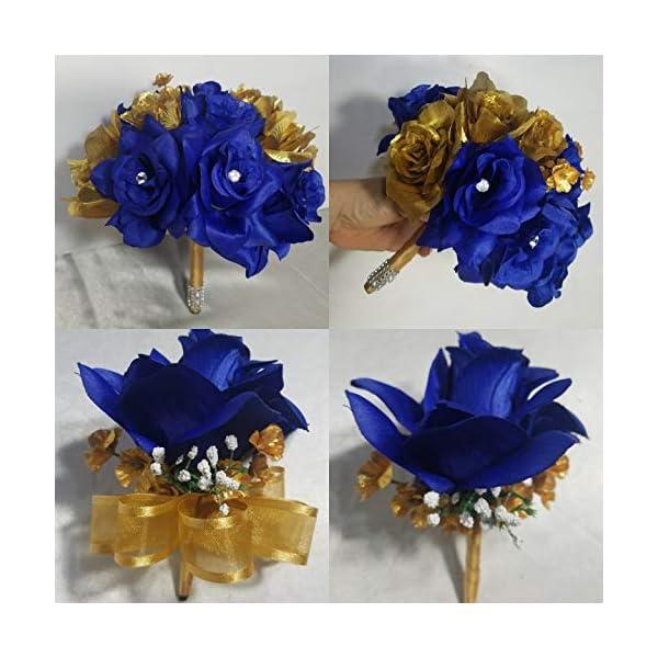 Royal Blue Gold Rose Hydrangea Bridal Wedding Bouquet & Boutonniere