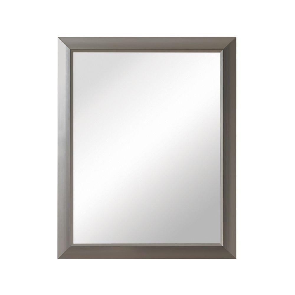 Barrington 15 in. W x 19 in. H x 5 in. D Framed Recessed or Surface-Mount Bathroom Medicine Cabinet in Satin Nickel by Generic