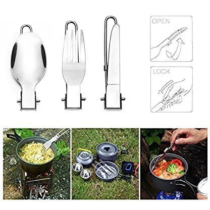 Odoland Camping Cooker Pan Set Aluminum Camping Cookware Kit for 2 People, Portable Outdoor Pot Pan Stove Kettle 2 Cups… 5