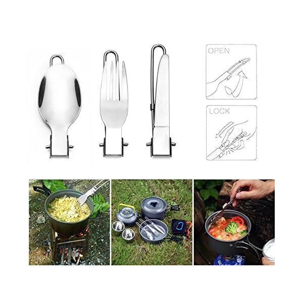 51zrAmmG kL Odoland Camping Kochgeschirr Set 10-teiliges Outdoor Kochgeschirr 0.8L Teekessel mit 2 Tassen Faltbare Besteck Tragbar…
