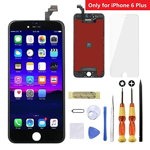 iPhone 6 Plus Screen Replacement Black,Goldwangwang 5.5inch LCD Touch Screen Digitizer Replacement Fully Frame Display Assembly Set with Repair tool kit + Tempered Glass Screen Protector + Instruction