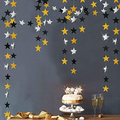 Glitter Gold and Black star Garlands kit for Party Decorations Silver Hanging Twinkle Bunting Banner/Streamers/Backdrop/Background for Baby Shower/Birthday/Wedding/Graduation/New Year's Celebration ()