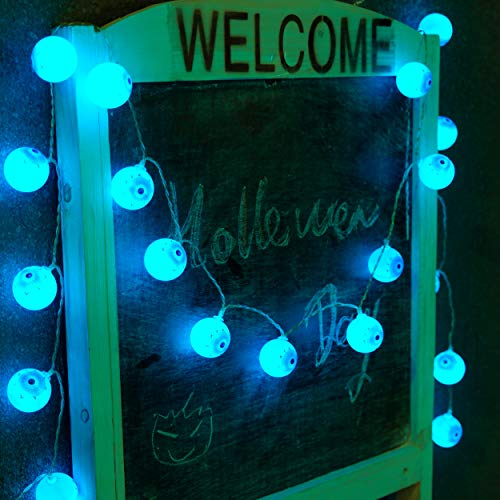 Horror Party Supplies,Qualife Eye Ball String Lights,6.6ft 20 LED Scary Decorations for Boy Birthday Outdoor Indoor Home Birthday Zombie Halloween Party,Battery Operated. ()