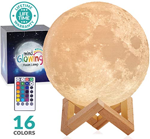 Mind-glowing 3D Moon Lamp - 16 LED Colors, Dimmable, Rechargeable Night Light (X-Large, 7.1in) with Wooden Stand, Remote & Touch Control - Nursery Decor for Your Baby, Birthday Gift Idea for Women]()