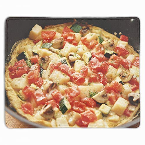 Mouse Pad, Pizza House Mushrooms Tomato Stuffing Standard Size Rectangle Non-Slip Rubber Mousepad, ()