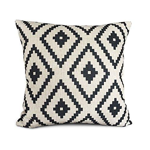 Akery White and black Series Geometry Cotton Linen Throw Pil