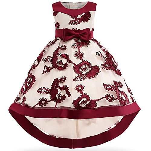 Little Girl Pageant Dress 5-6 Tea Length Sleeveless Prom Dress Maroon Size 5 Bridesmaid Lace A-Line Summer Dress for Little Girls 5-9 Years Christmas Party Vintage Elegant Evening Dress (Wine 140) ()