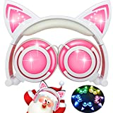Electronics : iGeeKid [Upgraded Version] Cat Ear Kids Headphones Rechargeable LED Light Up Foldable Over Ear Headphones Headsets for Girls Boys,Compatible for iPad,Kids Tablet,Kids Wearable Musical Device(New Pink)