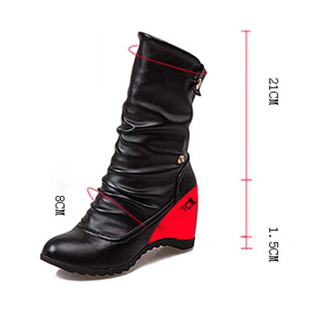 Amazon.com  Colmkley Womens Casual Warm Wedge Middle Tube No-Slip Boots  Fashion Zipper Shoes  Clothing 2e191e7b1d29