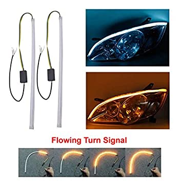 2Pcs 23inch Ultrafine LED Strip Tube Flexible Waterproof Daytime Running Light Suitable For Switchback Headlight LED Strip,Running Light,Flowing Turn Signal Light (White-Yellow, 60cm(23inch))