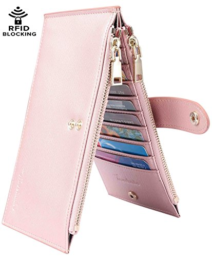Travelambo Womens Walllet RFID Blocking Bifold Multi Card Case Wallet with Zipper Pocket (synethic leather rose gold)