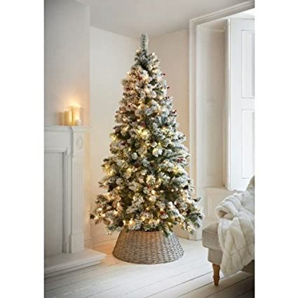 Pre Lit Christmas Tree.New 7ft Copenhagen Pre Lighted Christmas Trees Snow Berries And Pinecones Christmas Home Decor
