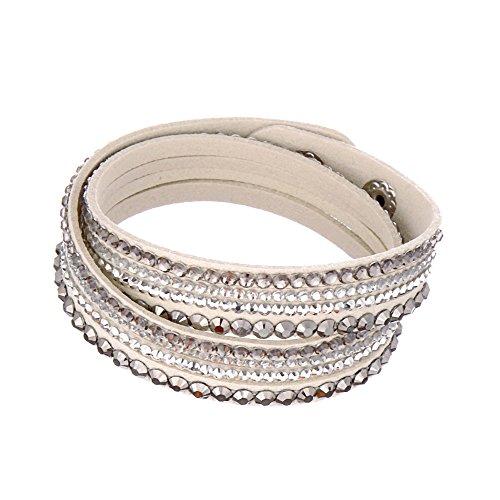 (Beautiful Bead Women New Fashion Genuine Leather Wrap Multilayer Rhinestones Hot Fix Bracelet-Creamy White)