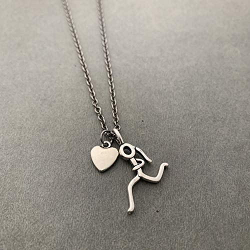Heart of a Runner Girl Necklace - Pewter Puffed Heart and Pewter Stick Figure Runner Girl Charm on 18 inch Gunmetal Chain