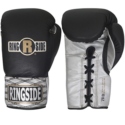 Ringside Ultimate Pro Fight Gloves, Black/Silver, 10-Ounce