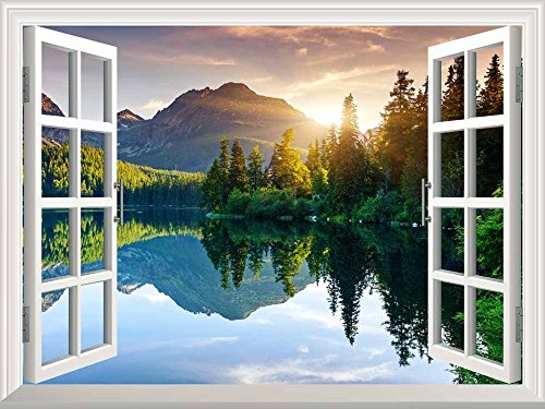 A Peaking View Through the Forest of the Morning Sunrise Wall Mural ( Lake and Mountains)