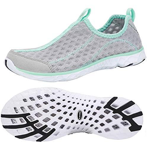 ALEADER Tennis Shoes Womens Walking Shoes Fashion Sneakers Lt Grey/New Mint 7.5 B(M) US