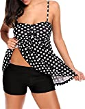 ARKRIR Women's Bikini Sexy Tankini With Retro Stripe Two Pieces Swimsuit Sets, Black, Large