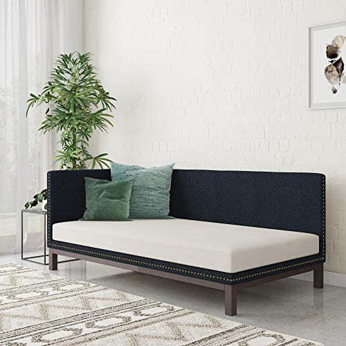 DHP Dale Upholstered Daybed/Sofa Bed Frame, Twin Size, Blue Linen