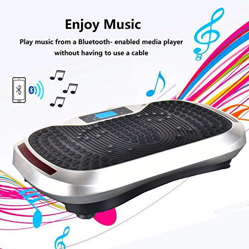 Reliancer Built-in Music Player Fitness Vibration Platform Whole Full Body Shaped Crazy Fit Plate Massage Workout Trainer Exercise Machine Plate w/Integrated USB Port&LED Light (W/Music-Silver) by Reliancer (Image #1)