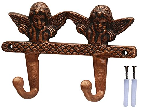 SouvNear Double Cherubs Hooks - 7.5 Inches Vintage Victorian Wall Mounted Hook - Heavy Duty Metal Hook/Hanger for Hanging Keys, Coat, Hat, Umbrella - Wall (Victorian Wall Storage)