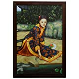 China Furniture Online Framed Oil Painting, Exotic Chinese Beauty by Fishpond Motif Blue and Orange