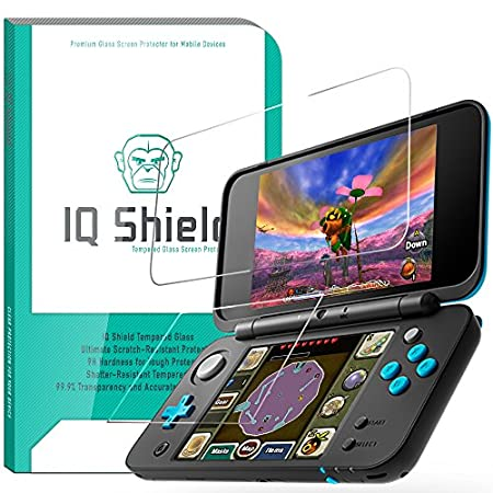 Nintendo 2DS XL Screen Protector (2x Top Glass + 2x Bottom PET), IQ Shield Tempered Ballistic Glass Screen Protector for Nintendo 2DS XL 99.9% Transparent HD and Shatter-Proof Shield