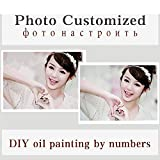 QIANDONG1 Personality Photo Customized Your Own DIY Oil Painting by Numbers Picture Drawing Canvas Portrait Wedding Family Children Photos,Framed,50x50cm