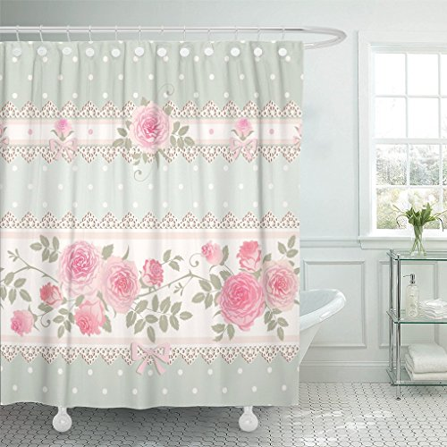 Gingham Rosette Bow - AA0AA shower curtain Green Vintage Floral Polka Dot Pattern with Lace Bows and Pink Roses Shabby Chic Style Flower shower curtain 60 x 72 Inches shower curtain with plastic Hooks