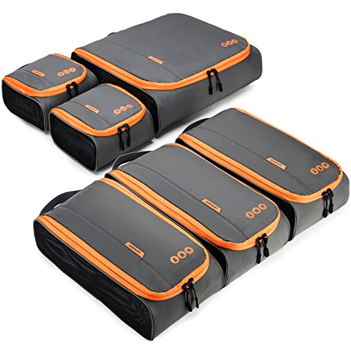 BAGSMART 6 Sets Packing Cubes 3 Sizes Portable Travel Luggage Organizer for Carry-on Accessories by BAGSMART (Image #1)