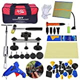 52Pcs DIY Car Dent Removal Tools AUTOPDR Auto Body Paintless Dent Repair Kits Car Door Dent with Silde Hammer Pdr Light Board Glue Glun Sticks Pdr Tool Bag