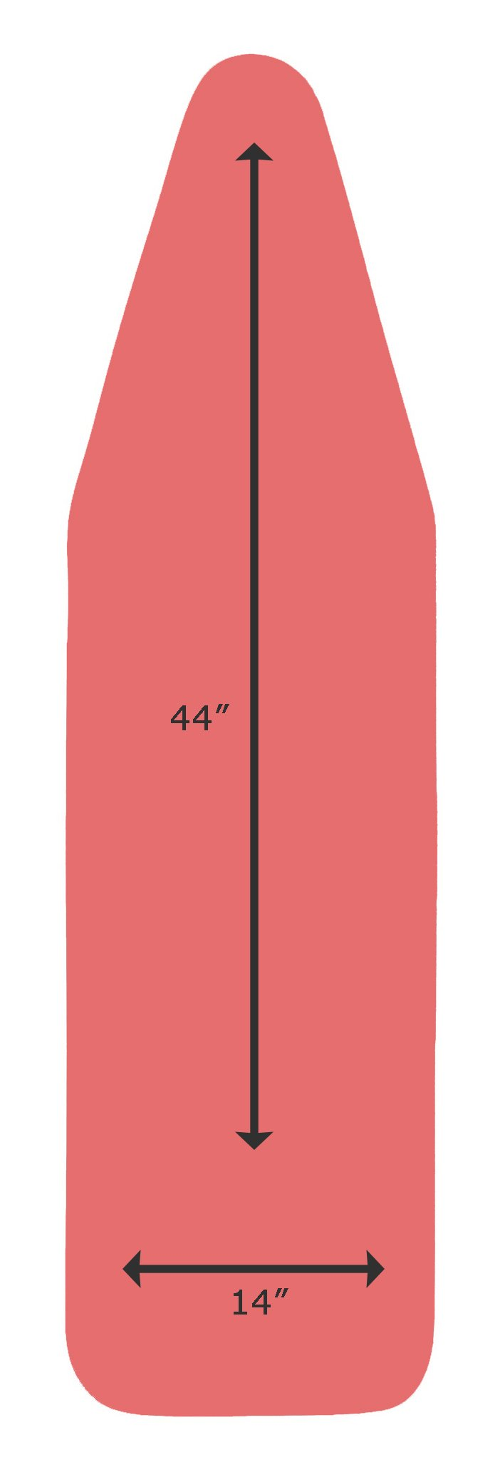 14 x 44 Inch CottonTek Pro - Heat-Reflective Advanced Cotton Technology - 5 Layer Padded Ironing Board Cover for ironing & steaming with FULL ALUMINUM LINING - Coral Red/PATENT PENDING