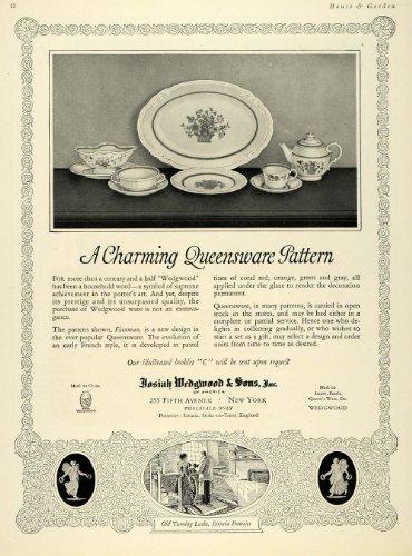 1924 Ad Josiah Wedgwood Queensware Pattern Dinner Plate - Original Print Ad