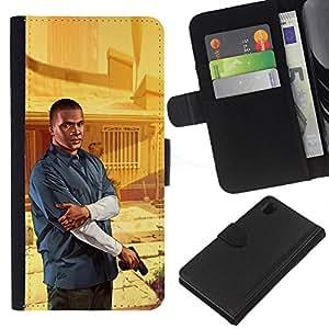 Protector de cuero de la PU de la cubierta del estilo de la carpeta del tirón BY RAYDREAMMM - Sony Xperia Z1 L39 - G T A Franklin Poster