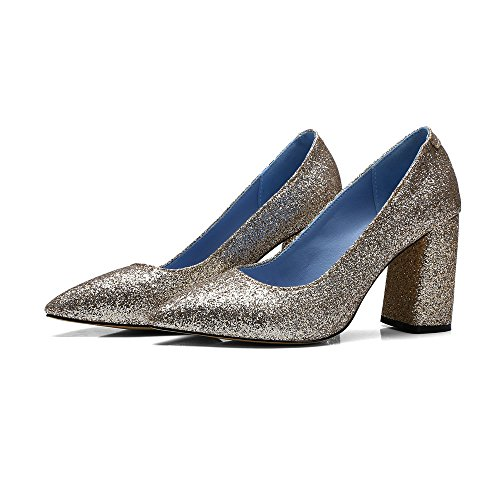 Shoes Pumps Heels toe High Glitter Pointed Square Dress Gold Women AIWEIYi qfzUnBTw