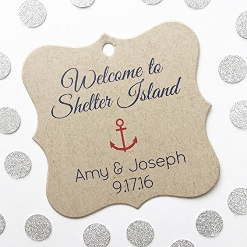 Welcome to Tags, Nautical Theme Wedding Favor Tags, Welcome Bag Favors, Anchor Favor Tags (FS-125-KR) Personalized Theme Candy Jars