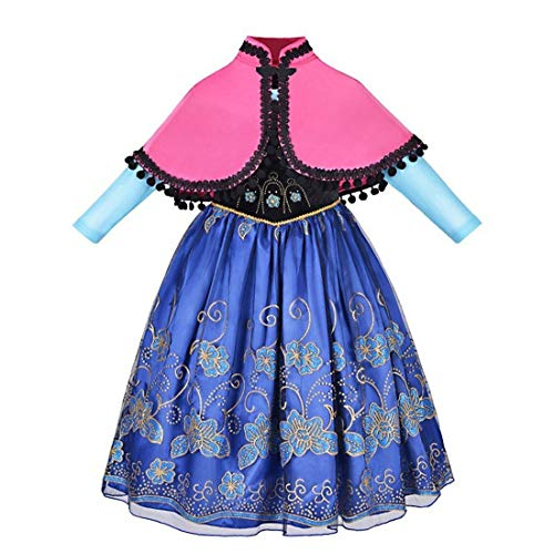 Anna Deluxe Long Sleeve Princess Costume Kid Halloween Party Girl Dress Up Gown 2PC Cape Set, Size 7-8 -