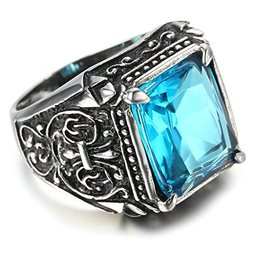 Stainless Steel Ring for Men, Square Ring Gothic Black Band Blue 1416MM Size 11 (Evil Circus Ringmaster)